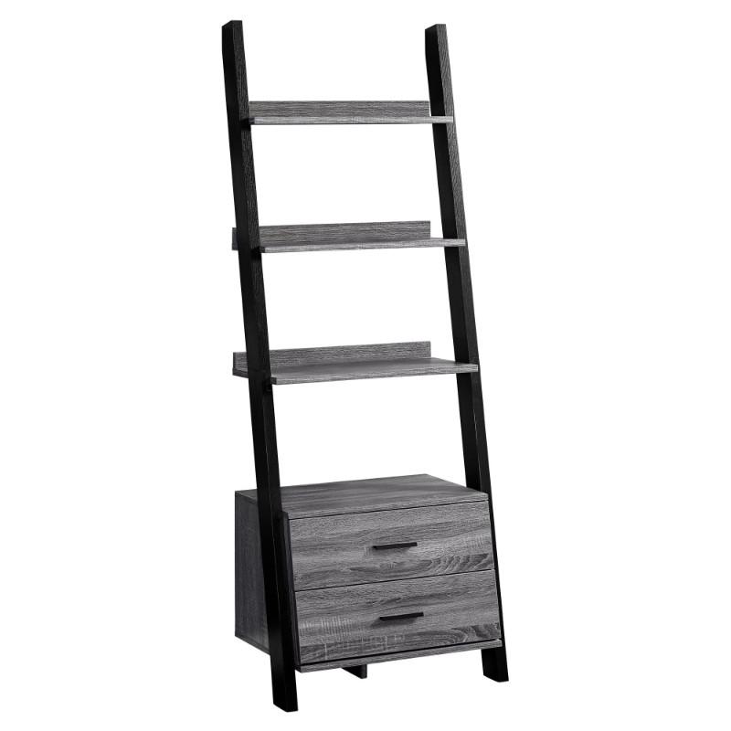 """Bookcase - 69""""H / Grey-Black Ladder With 2 Storage Drawer"""