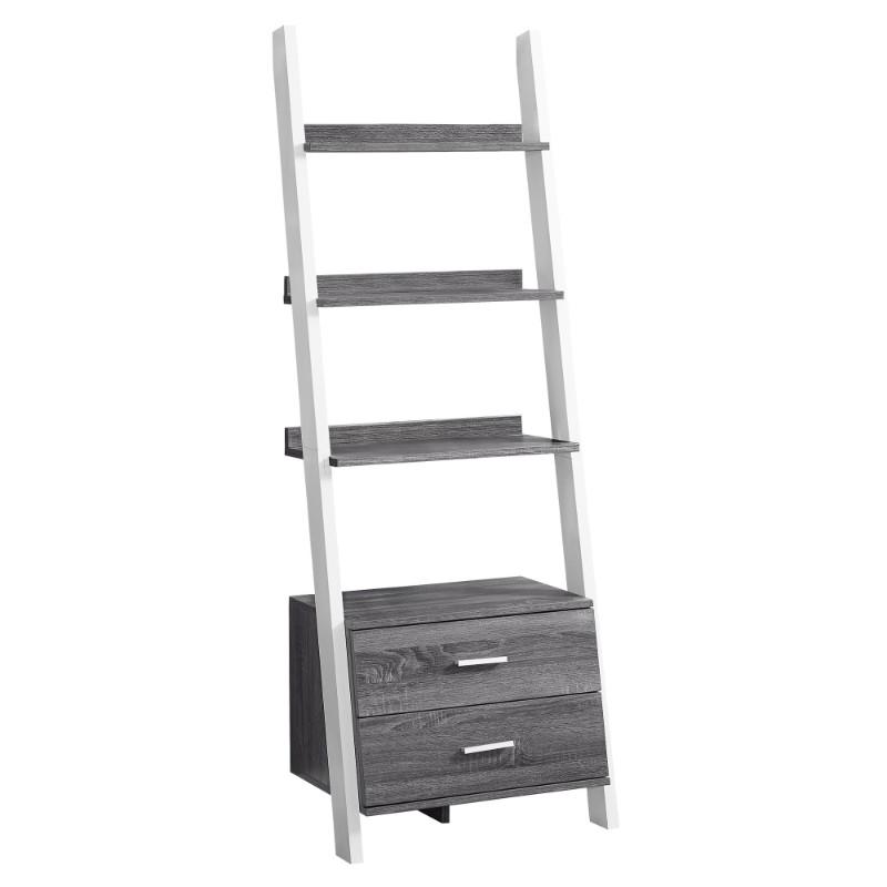 """Bookcase - 69""""H / Grey-White Ladder With 2 Storage Drawer"""