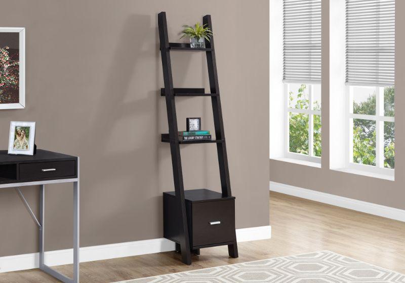 "Bookcase - 69""H / Cappuccino Corner Etagere W/ Drawer"