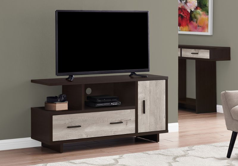 """Tv Stand - 48""""L / Cappuccino / Taupe Reclaimed Wood-Look"""