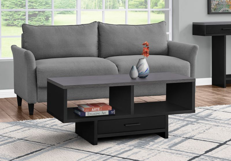 Coffee Table - Black / Grey Top With Storage
