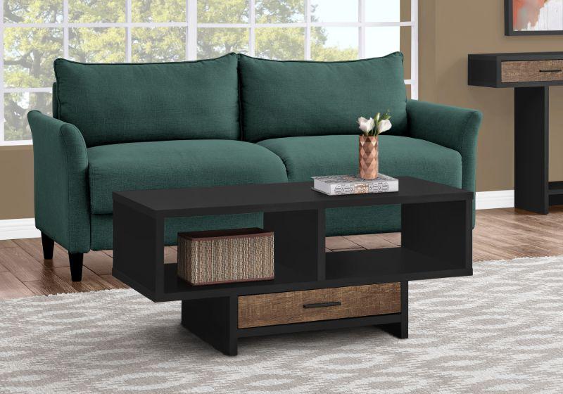 Coffee Table - Black / Brown Reclaimed Wood-Look
