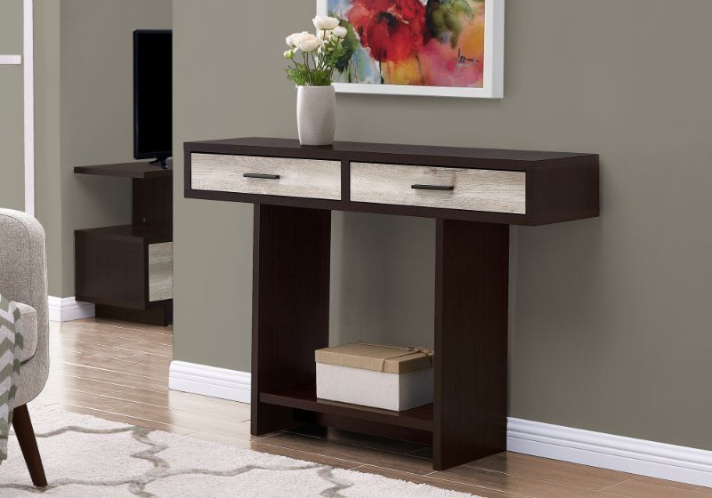 """Accent Table - 48""""L / Cappuccino / Taupe Reclaimed Wood"""