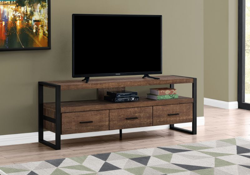 """Tv Stand - 60""""L / Brown Reclaimed Wood-Look / 3 Drawers"""