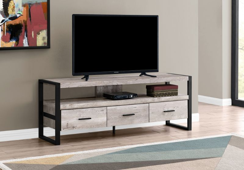 """Tv Stand - 60""""L / Taupe Reclaimed Wood-Look / 3 Drawers"""