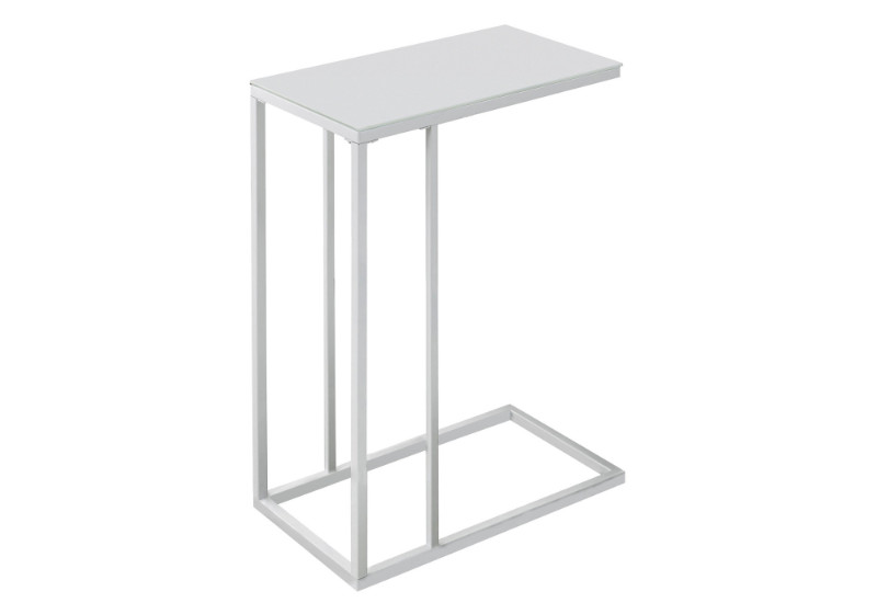 Accent Table - White Metal With Frosted Tempered Glass