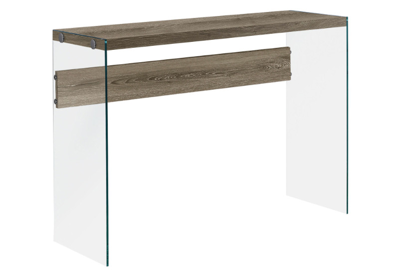 """Accent Table - 44""""L / Dark Taupe / Tempered Glass"""