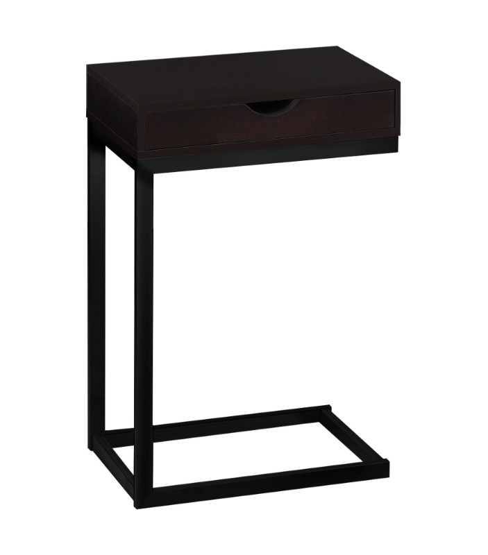 Accent Table - Cappuccino / Black Metal With A Drawer