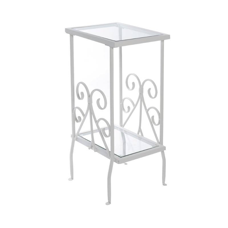 "Accent Table - 30""H / White Metal With Tempered Glass"