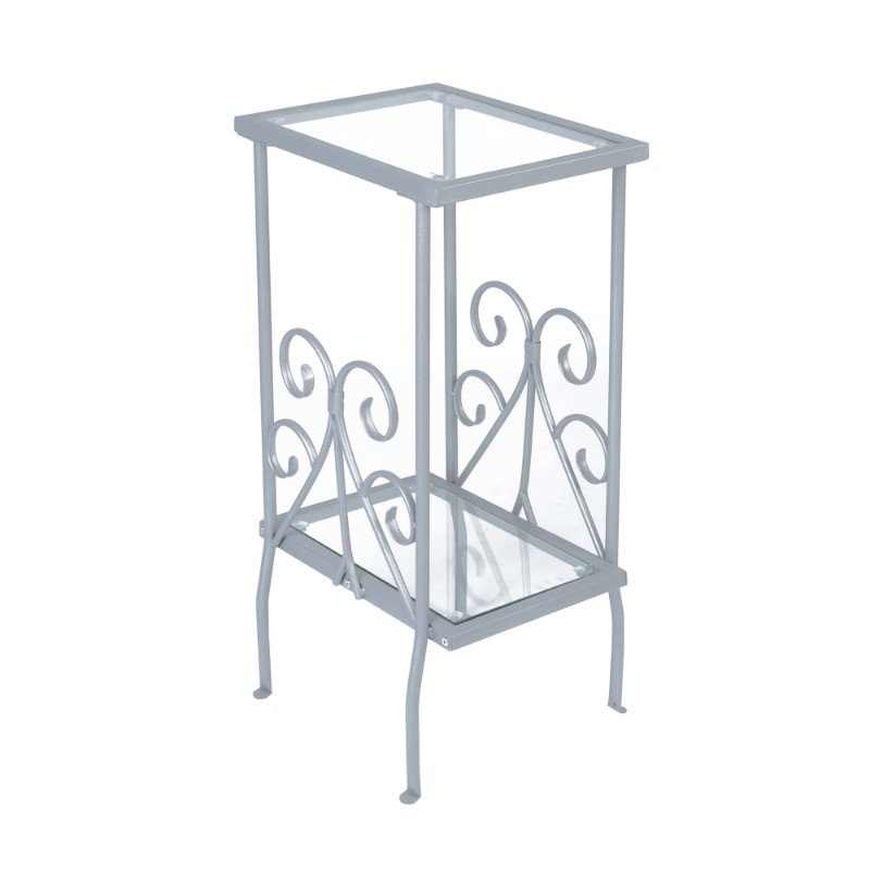"""Accent Table - 30""""H / Silver Metal With Tempered Glass"""