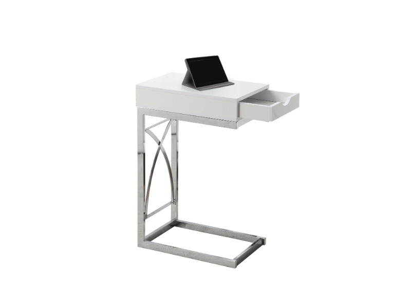 ACCENT TABLE - CHROME METAL GLOSSY WHITE WITH A DRAWER