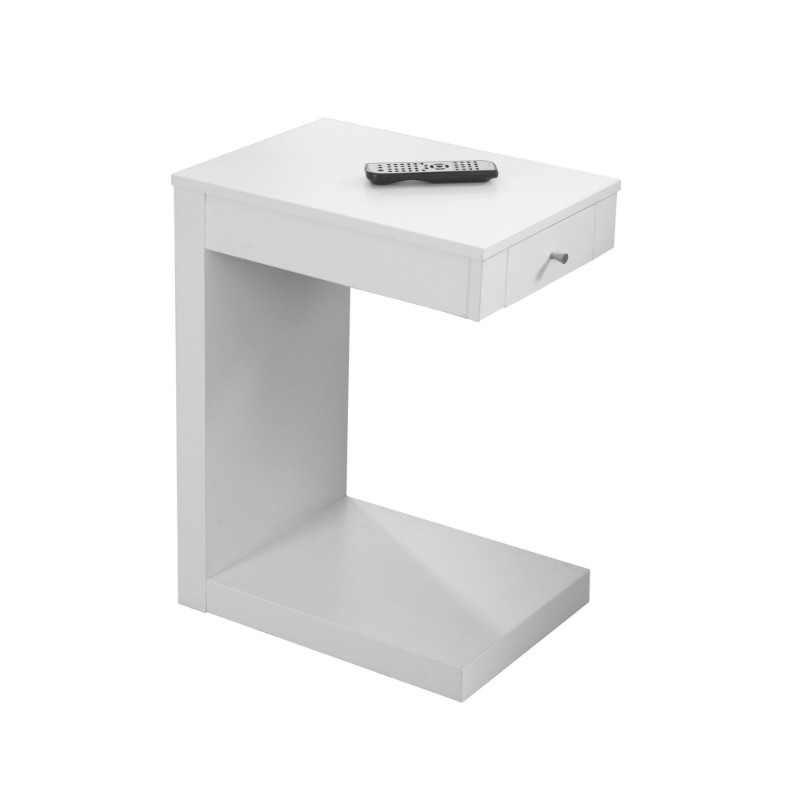 Accent Table - White With A Drawer