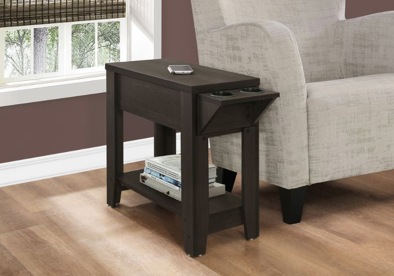 """Accent Table - 23""""H / Cappuccino With A Glass Holder"""
