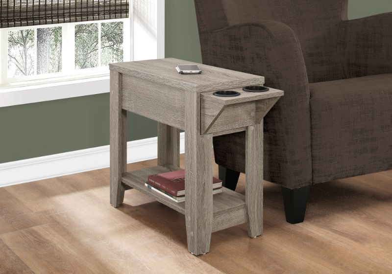 """Accent Table - 23""""H / Dark Taupe With A Glass Holder"""