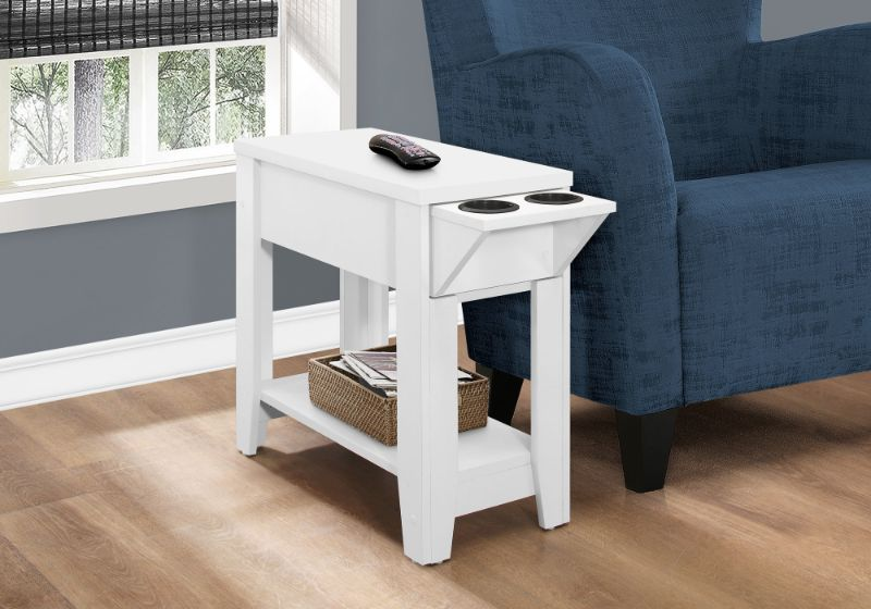 """ACCENT TABLE - 23""""H / WHITE WITH A GLASS HOLDER"""