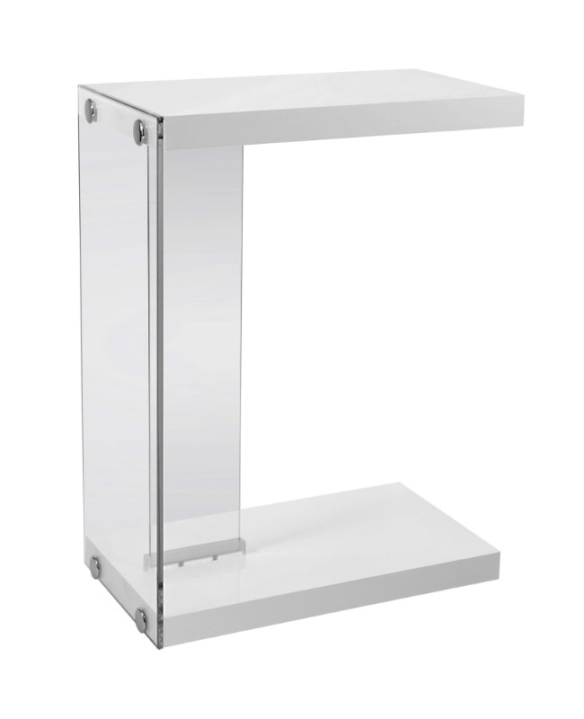 Accent Table - Glossy White With Tempered Glass