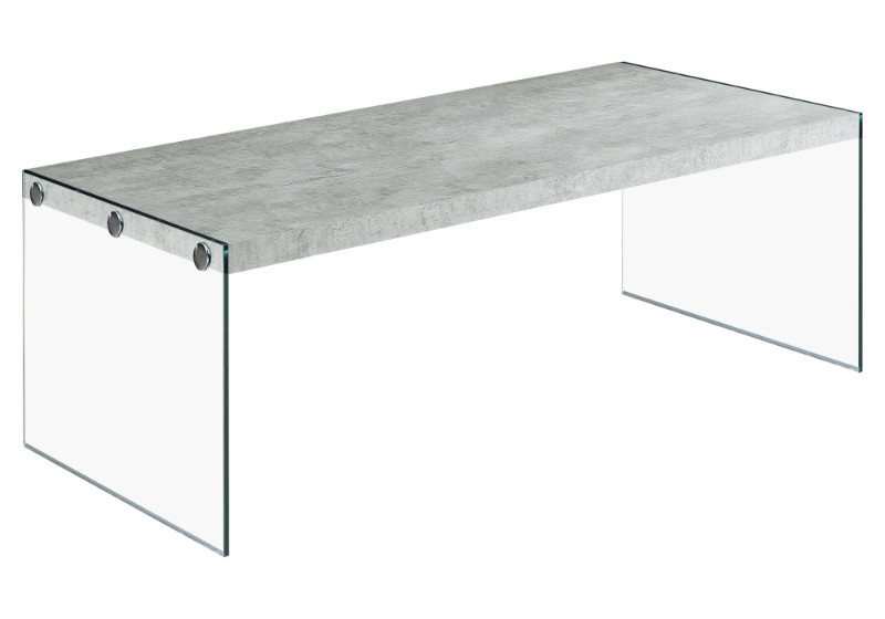COFFEE TABLE - GREY CEMENT WITH TEMPERED GLASS
