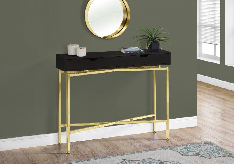 "Accent Table - 42""L / Cappuccino / Gold Hall Console"