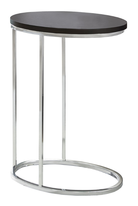 Accent Table - Oval / Cappuccino With Chrome Metal