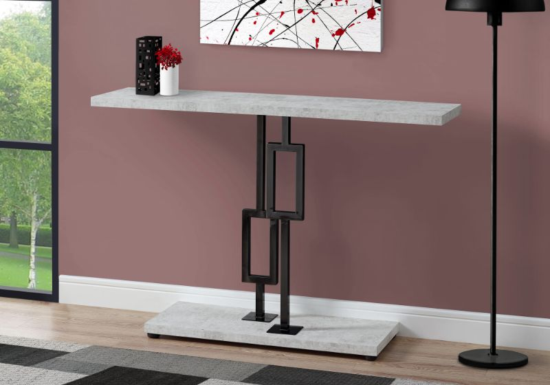 "Accent Table - 48""L / Grey Cement / Black Nickel Metal"