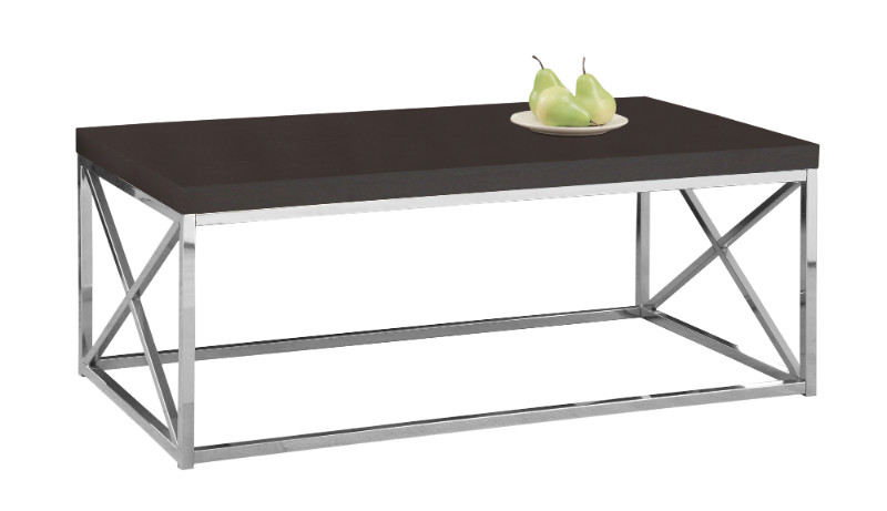 COFFEE TABLE - ESPRESSO / CHROME METAL