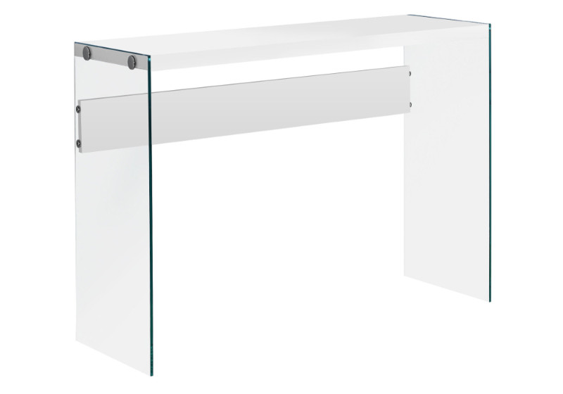 """Accent Table - 44""""L / Glossy White / Tempered Glass"""