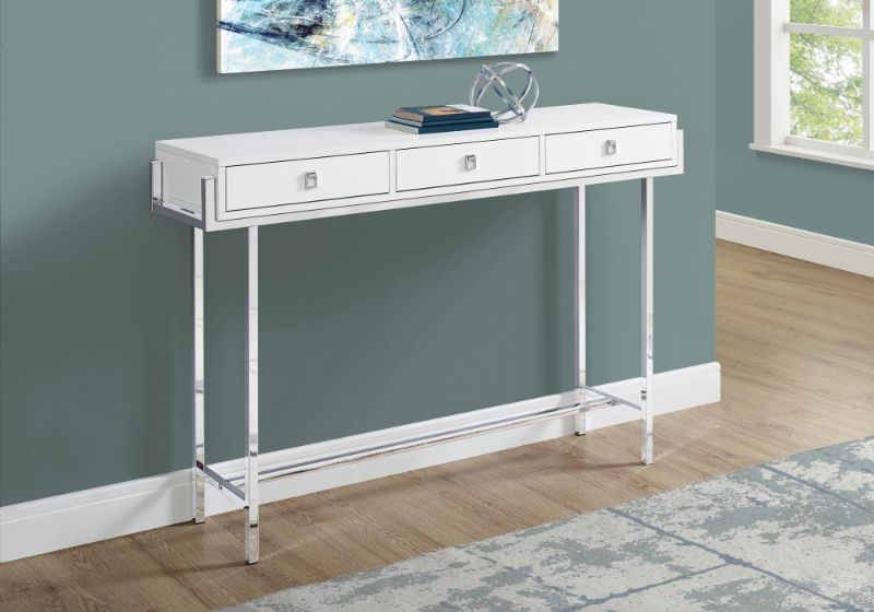 """Accent Table - 48""""L / Glossy White / Chrome Metal"""