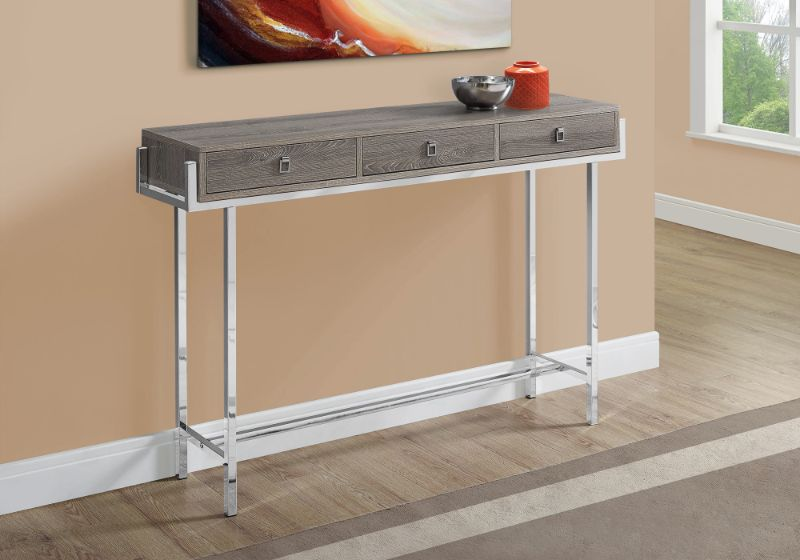 "Accent Table - 48""L / Dark Taupe / Chrome Metal"