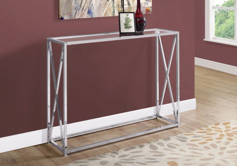 """Accent Table - 42""""L / Chrome Metal With Tempered Glass"""