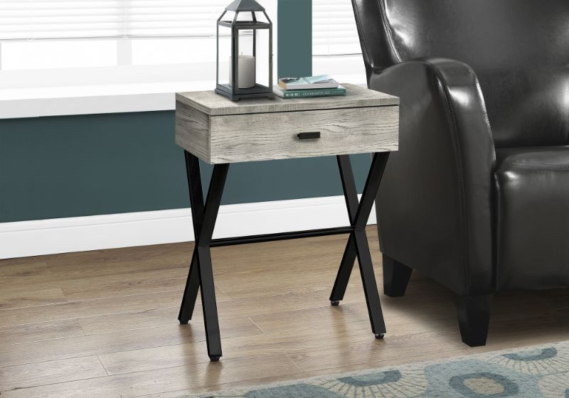 "Accent Table - 24""H / Grey Reclaimed Wood / Black Metal"