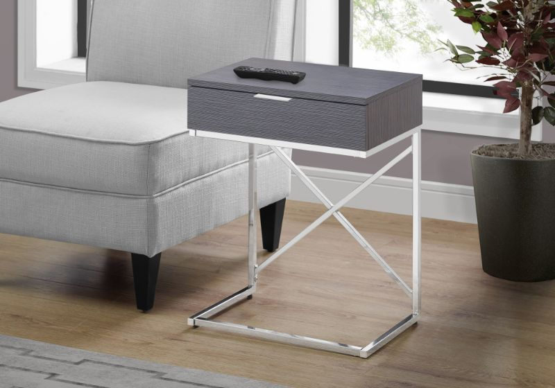 """Accent Table - 24""""H / Grey / Chrome Metal"""