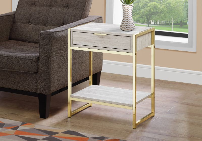 """Accent Table - 24""""H / Beige Marble / Gold Metal"""