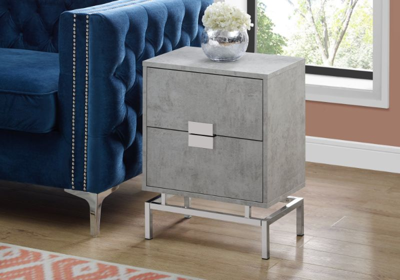 """Accent Table - 24""""H / Grey Cement / Chrome Metal"""