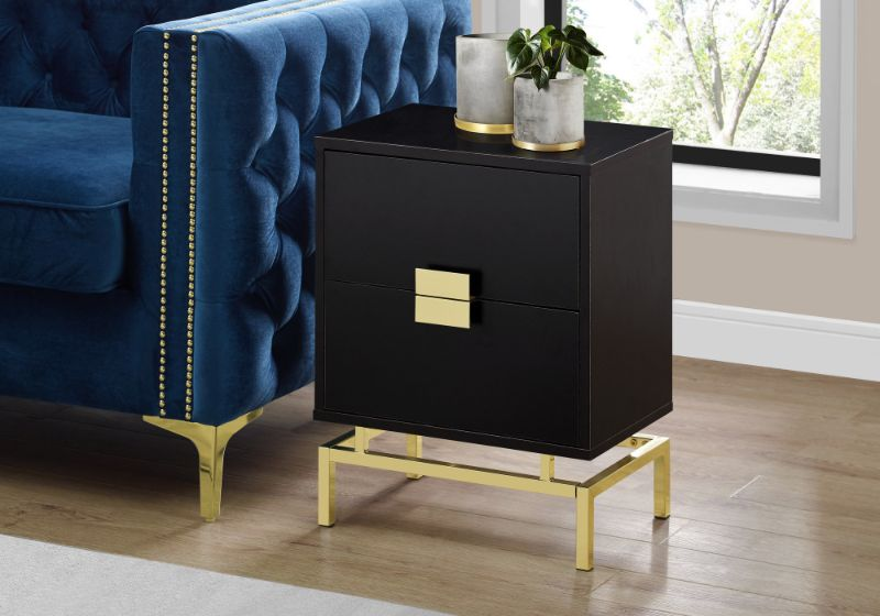 """ACCENT TABLE - 24""""H / ESPRESSO / GOLD METAL"""