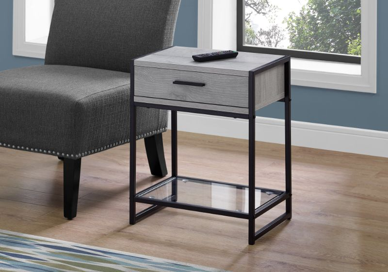 """Accent Table - 22""""H / Grey / Black Metal / Tempered Glass"""