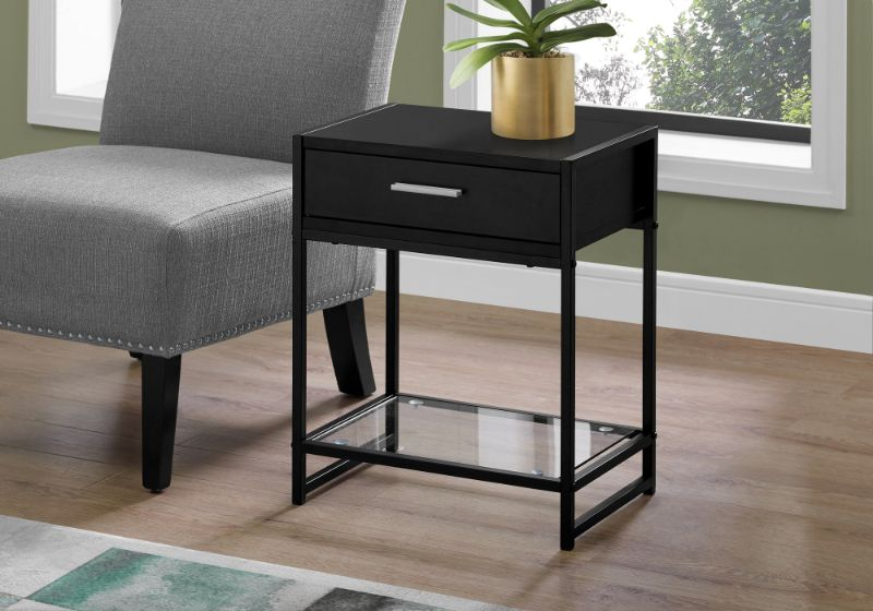 """Accent Table - 22""""H / Black / Black Metal/ Tempered Glass"""