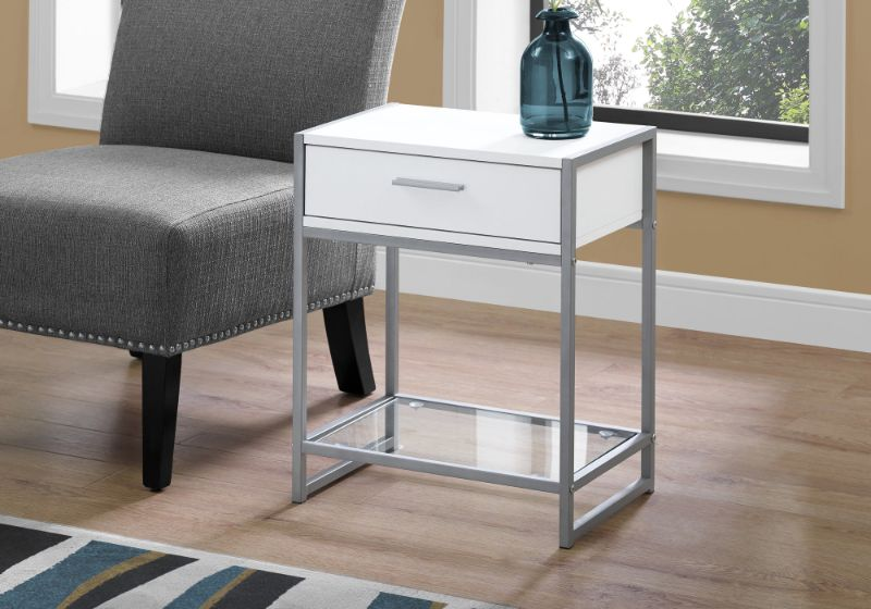 """Accent Table - 22""""H / White/ Silver Metal/ Tempered Glass"""
