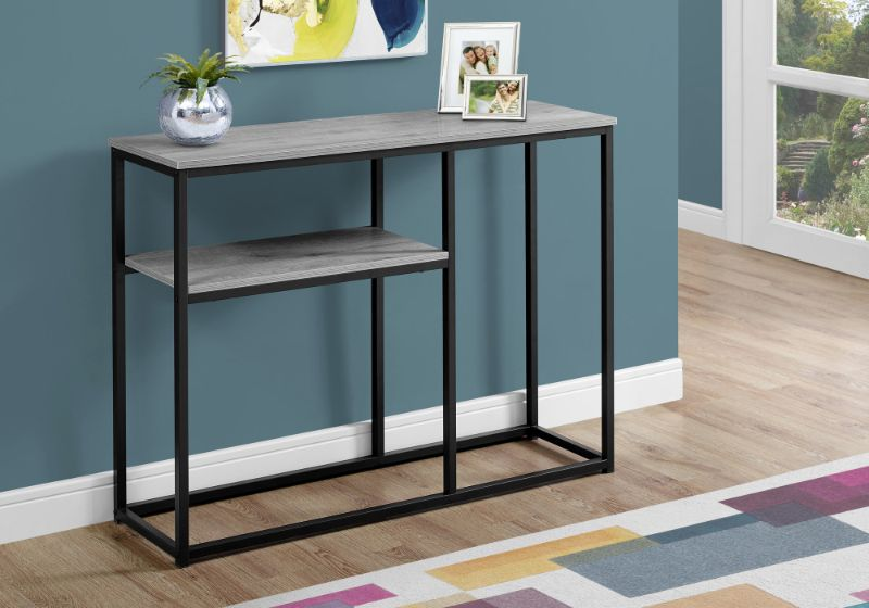 """Accent Table - 42""""L / Grey / Black Metal Hall Console"""