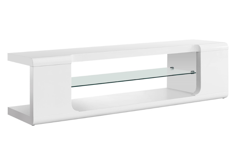 "Tv Stand - 60""L / High Glossy White With Tempered Glass"