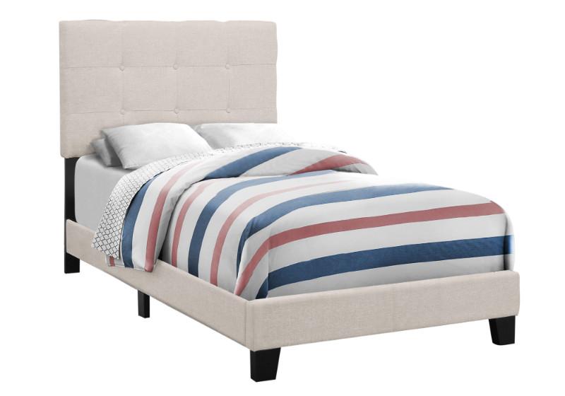 BED - TWIN SIZE / BEIGE LINEN