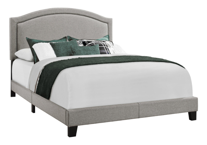 BED - QUEEN SIZE GREY LINEN WITH CHROME TRIM