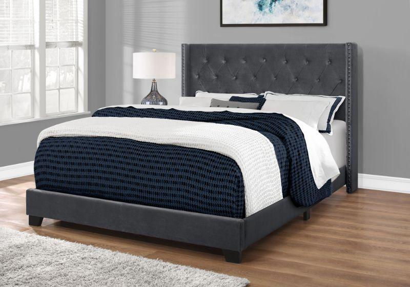Bed - Queen Size / Dark Grey Velvet With Chrome Trim