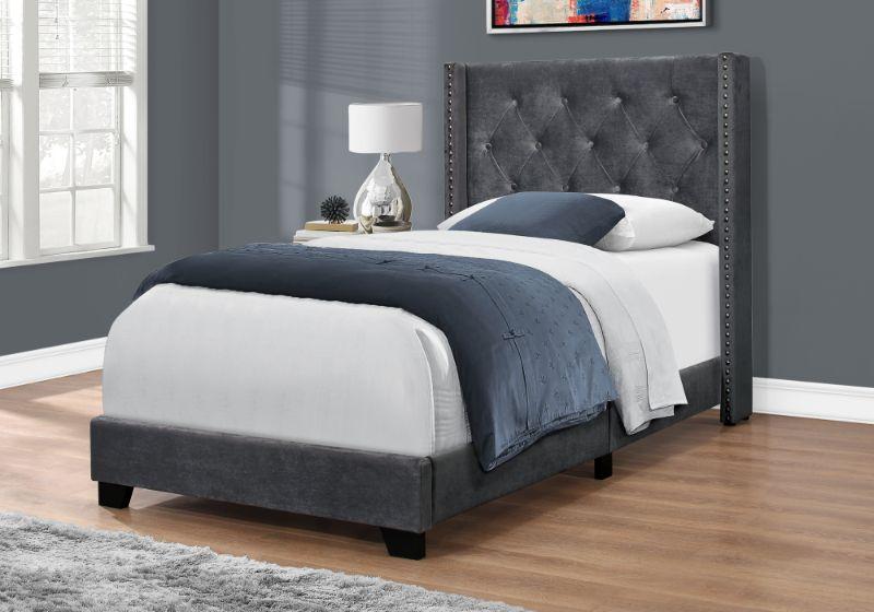 Bed - Twin Size / Dark Grey Velvet With Chrome Trim