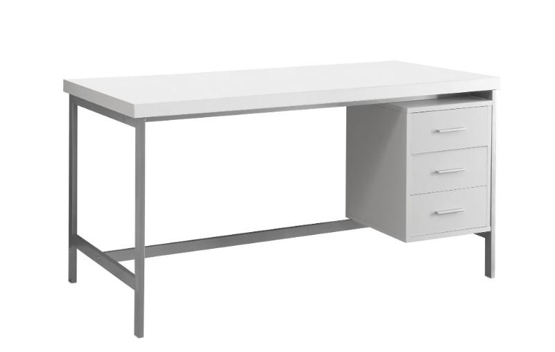 "Computer Desk - 60""L / White / Silver Metal"