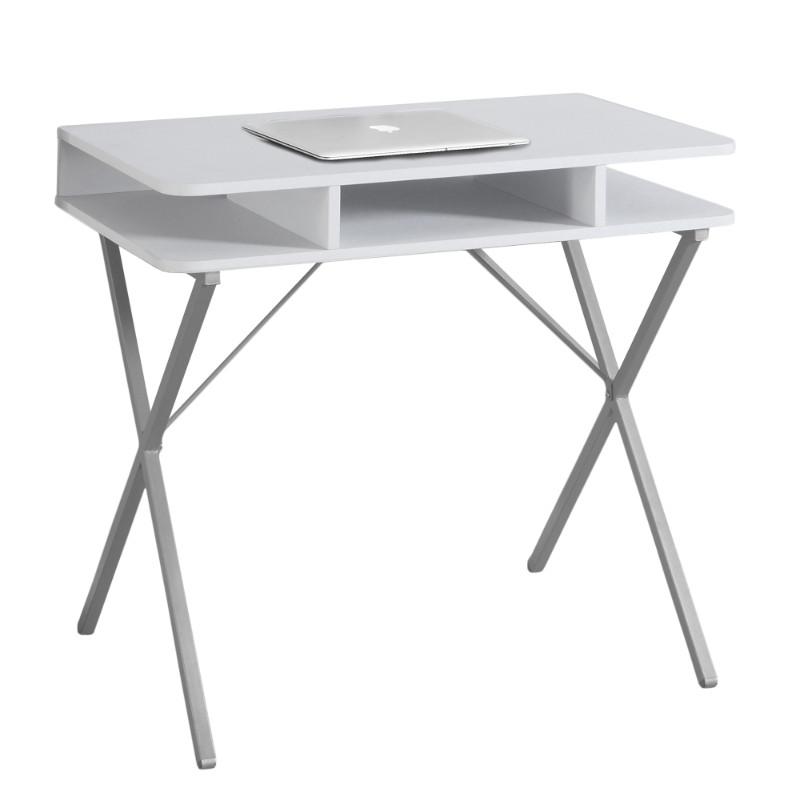 "COMPUTER DESK - 31""L / WHITE TOP / SILVER METAL"