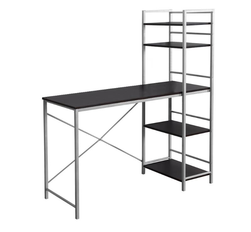 """Computer Desk - 48""""L / Cappuccino Top / Silver Metal"""