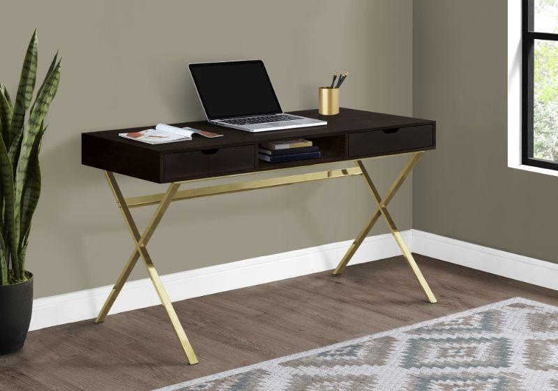 """Computer Desk - 48""""L / Cappuccino / Gold Metal"""