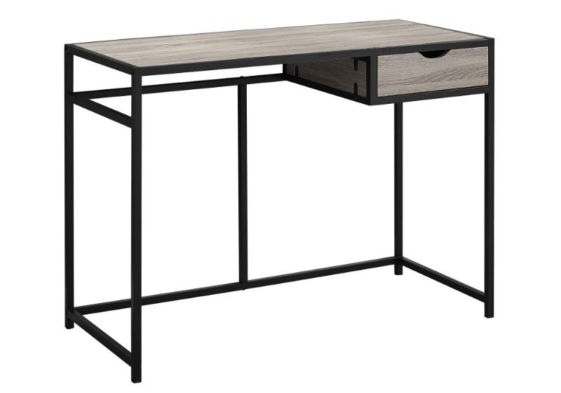 "Computer Desk - 42""L / Dark Taupe / Black Metal"