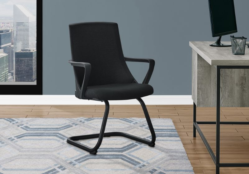 Office Chair - 2Pcs / Guest Black Mesh Mid-Back