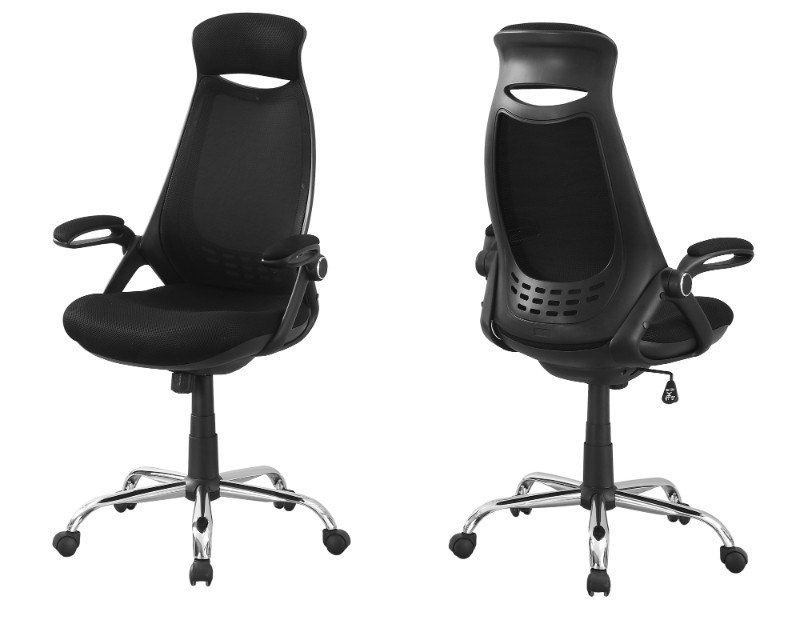 Office Chair - Black Mesh / Chrome High-Back Executive